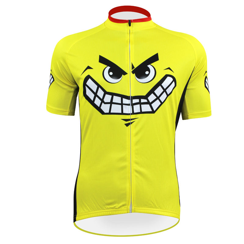 ФОТО 17 Smiley Faces Pattern Cycle Clothing Men Yellow Polyester 2017 Sleeve Cycling new Size XS To 5XL
