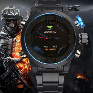 AMST Men's Watches Alarm-Clocks Digital Military Analog Top-Brand Luxury LED Sport Masculino