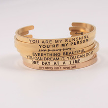 4MM Stainless Steel Engraved Positive Inspirational Quote Cuff Mantra Bracelet Initial Bangle