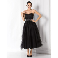 TS Couture A Line Princess Sweetheart Tea Length Tulle Prom Formal Evening Dress With Sash Ribbon