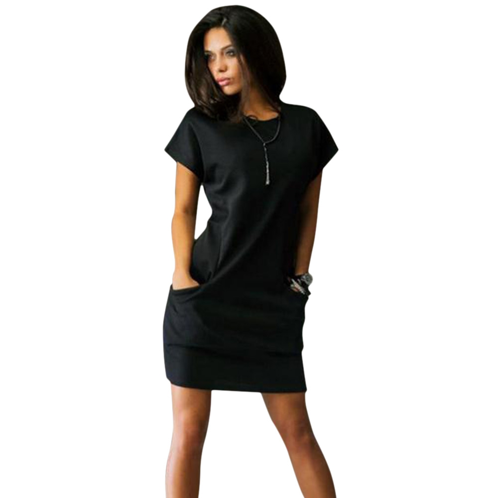 VESTLINDA Bodycon Dress Women Sundress Brief Solid Color Slim Sexy Dress O Neck Short Sleeve Mini Shirt Dress Summer Vestidos 3