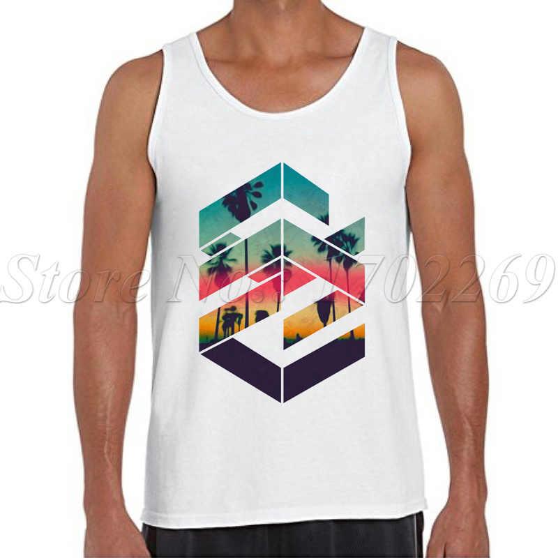 2018 Новая мода Для мужчин Лето Топы геометрический Sunset Beach с мужской ретро Стиль Повседневный жилет