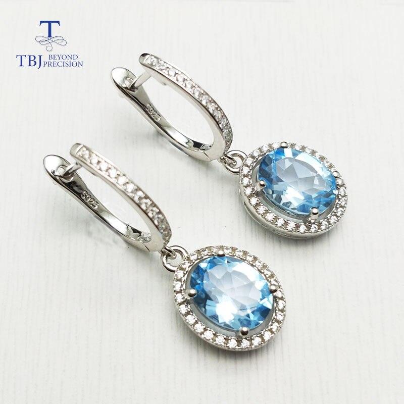 TBJ, topaze bleue naturelle ovale 7*9mm 4.5ct pierre gemme fermoir boucle d'oreille solide 925 argent sterling pour les femmes classique boucle d'oreille boîte à bijoux