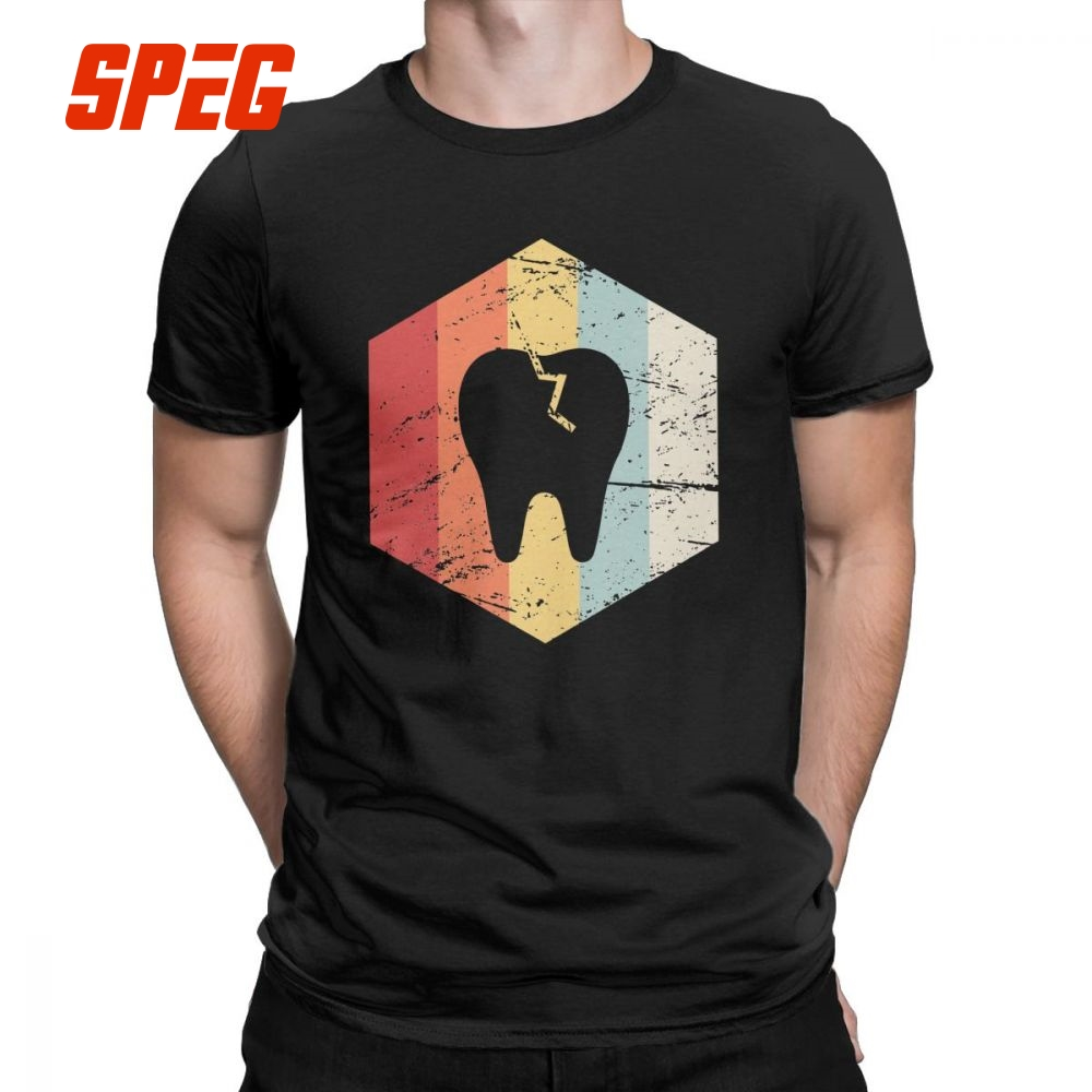 Dentist Retro 70s Tooth Icon Funny T Shirt Men's Dentistry Dental Hygienist Tops New Arrival Tees 100% Cotton Crewneck T-Shirt