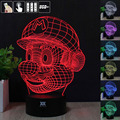 Mario Bros 3D Night Light RGB Changeable Mood Lamp LED Light DC 5V USB Decorative Table Lamp Get a free remote control