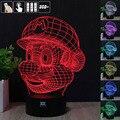 Mario Bros de Luz Nocturna en 3D RGB Cambiable Mood Lámpara de Luz LED dc 5 v usb lámpara de mesa decorativa get a free control remoto
