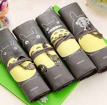 1pcs/Lot My Neighbor Totoro PU Leather Roll Pencil Case Stationery Storage Organizer Bag Gift Stationery School Office Supply(China)
