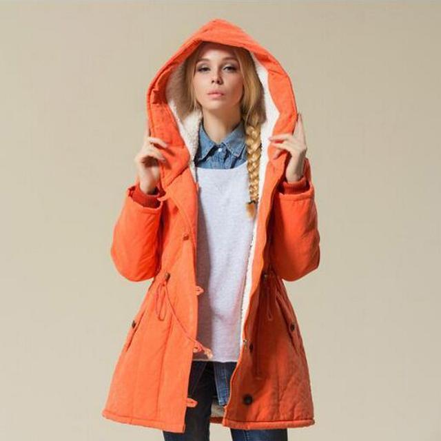 Venda quente Casaco Feminino 2016 Nova Moda Inverno Moda Sólidos Mulheres Jaqueta de Lã De cordeiro Casaco Plus Size 4XL Casaco Feminina jaqueta
