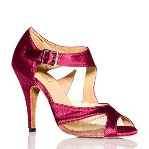 Image 2 - Yeni Marka Kızlar kadın Balo Tango Salsa Latin Dans Ayakkabıları Mor Saten Örgü Bayanlar