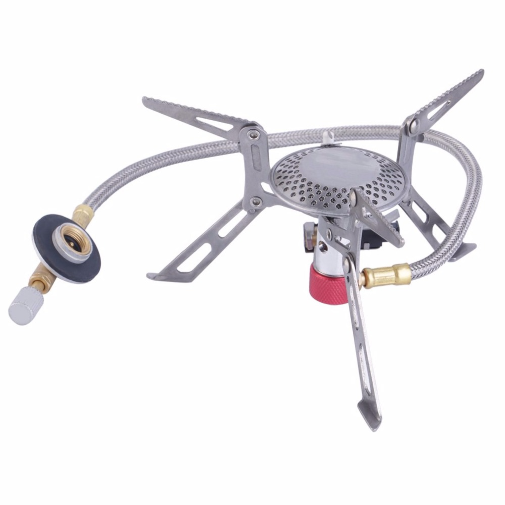 Stainless Steel Gas Stove Ultralight Aluminum Alloy Outdoor Burn Camping Gas Powered Stove With Piezo Lgnition HikingStainless Steel Gas Stove Ultralight Aluminum Alloy Outdoor Burn Camping Gas Powered Stove With Piezo Lgnition Hiking