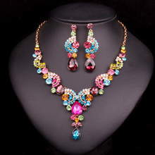 Fashion Crystal Indian Necklace Earrings Jewelry Sets Gifts for Women Brides Bridal Wedding Party Costume Jewellery Dropshipping