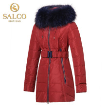 SALCO Free shipping new high-end European and American fashion lady large raccoon fur hooded down jacket and long sections