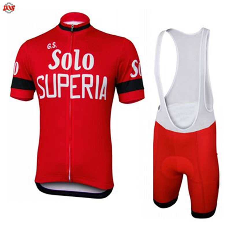 Men short sleeve jersey set pro team red cycling SOLO short set bib shorts Breathable GEL Pad bike wear cycling clothing MTB