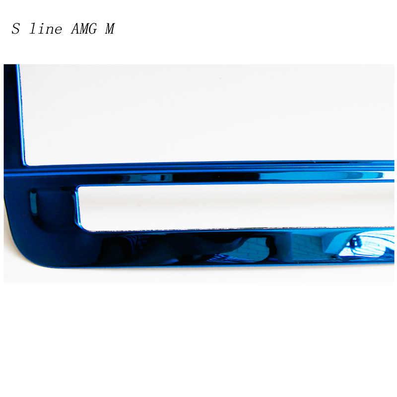 Estilo de coche de acero inoxidable de Control de aire acondicionado CD panel decorativo recorte cubierta para Mercedes Benz GLA X156 La CIA C117 un la clase