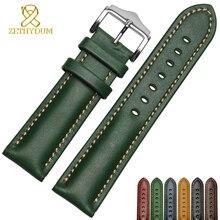 Aus echtem leder armband handarbeit armband 18 20mm 22mm uhr band grün blau farbe armbanduhr armband armbanduhren großhandel
