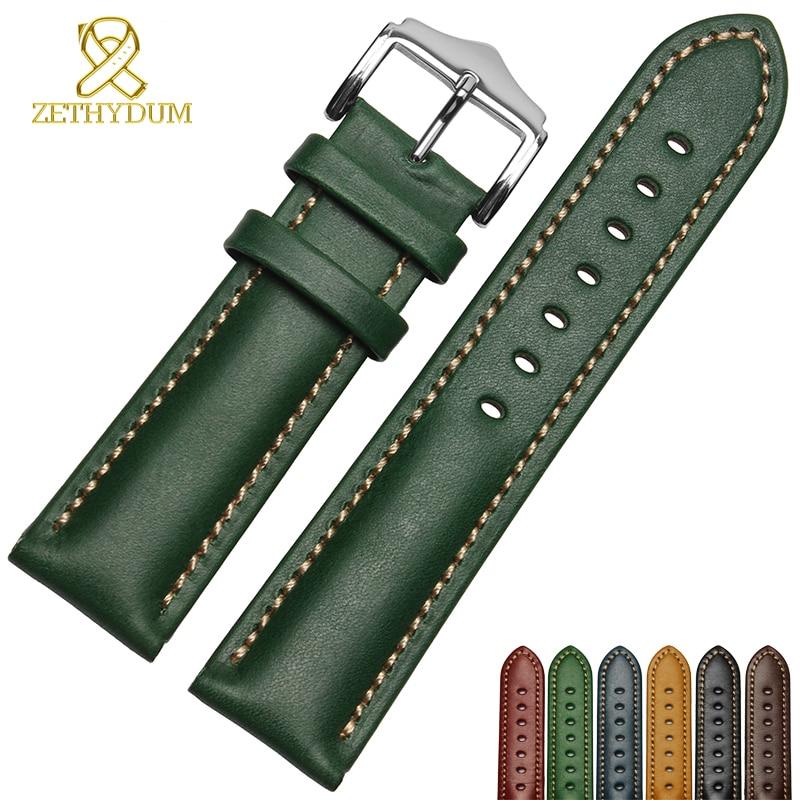 Genuína pulseira de couro pulseira artesanal 18 20mm 22mm faixa de relógio azul verde cor pulseira De relógio de Pulso relógios de pulso por atacado