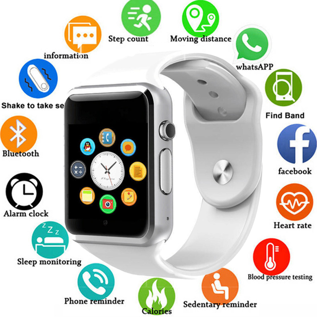Reloj de pulsera A1 Bluetooth reloj inteligente podómetro deportivo compatible con tarjeta SIM TF para teléfono inteligente Android PK GT08 DZ09 Q18 Y1