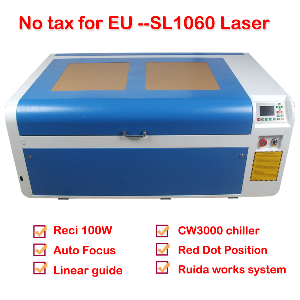 RECI 100W CO2 Laser Engraver and Cutting Machine SL1060 1000 600mm with CW3000 Chiller NO TAX