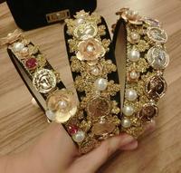 2018 מותג הבארוק בציר תחרה להקות שיער יהלומים מלאכותיים פנינת פרח זהב מטבעות מתכת תכשיטי נשים שיער סרט דיוקן פרוע