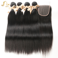 Peruvian Hair 4 Bundles With 4x4 Lace Closure 8 To 28 Inch Straight 100% Human Hair Extensions Natural Black Color