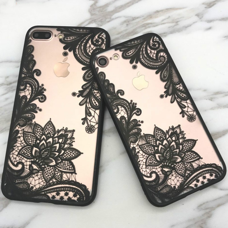 Lace Datura Paisley Mandala Henna Flower Case For iphone 7 Case For iphone 6 6S 7 8 Plus 5 5S 5SE X Cover Classic Phone Cases