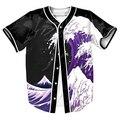 Roxo Ondas Camisa overshirt manga curta 3d camiseta Streetwear Hip Hop com estilo Único Breasted camisa do basebol DOS HOMENS de verão