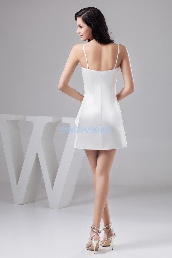 Livraison gratuite 2015 robe formelle vestido noiva grande taille nouveau design pli couleur personnalisée/taille courte mini robe de demoiselle d'honneur blanche - 5