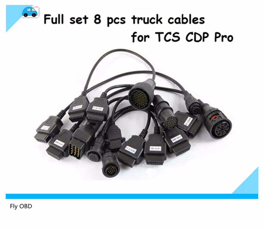 2017 high quality truck cable 8 full set cables obd2 diagnostic obdii obd 2 connect cable