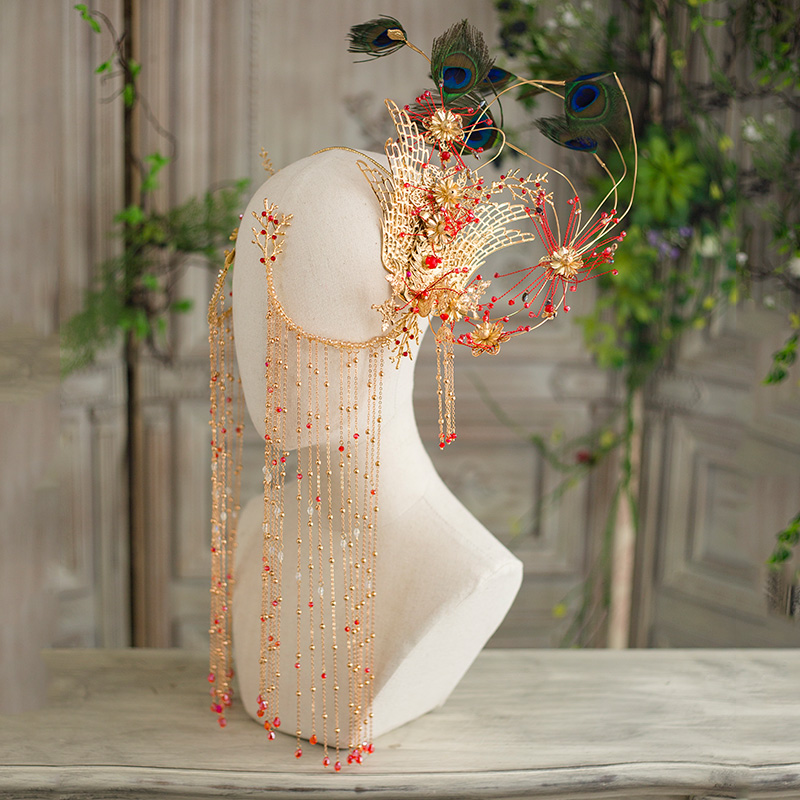 HIMSTORY magnifique fait à la main Phoenix Coronet scène chinois Style Vintage accessoires de cheveux paon plume spectacle ange coiffure-in Bijoux pour cheveux from Bijoux et Accessoires    2