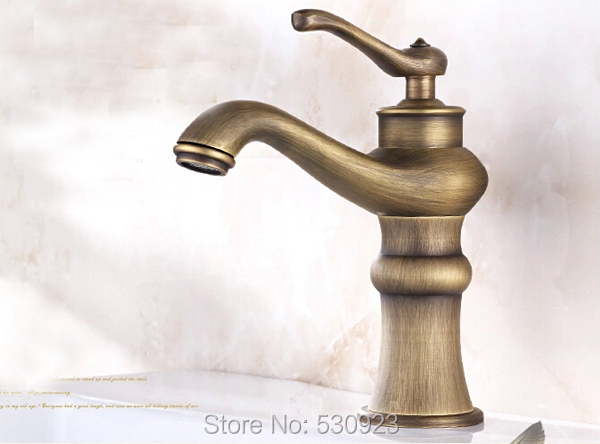 New Arrival Vintage Style Bathroom Basin Sink Faucet Antique Brass Lamp Shape Mixer Tap Single Handle Single Hole Deck Mounted
