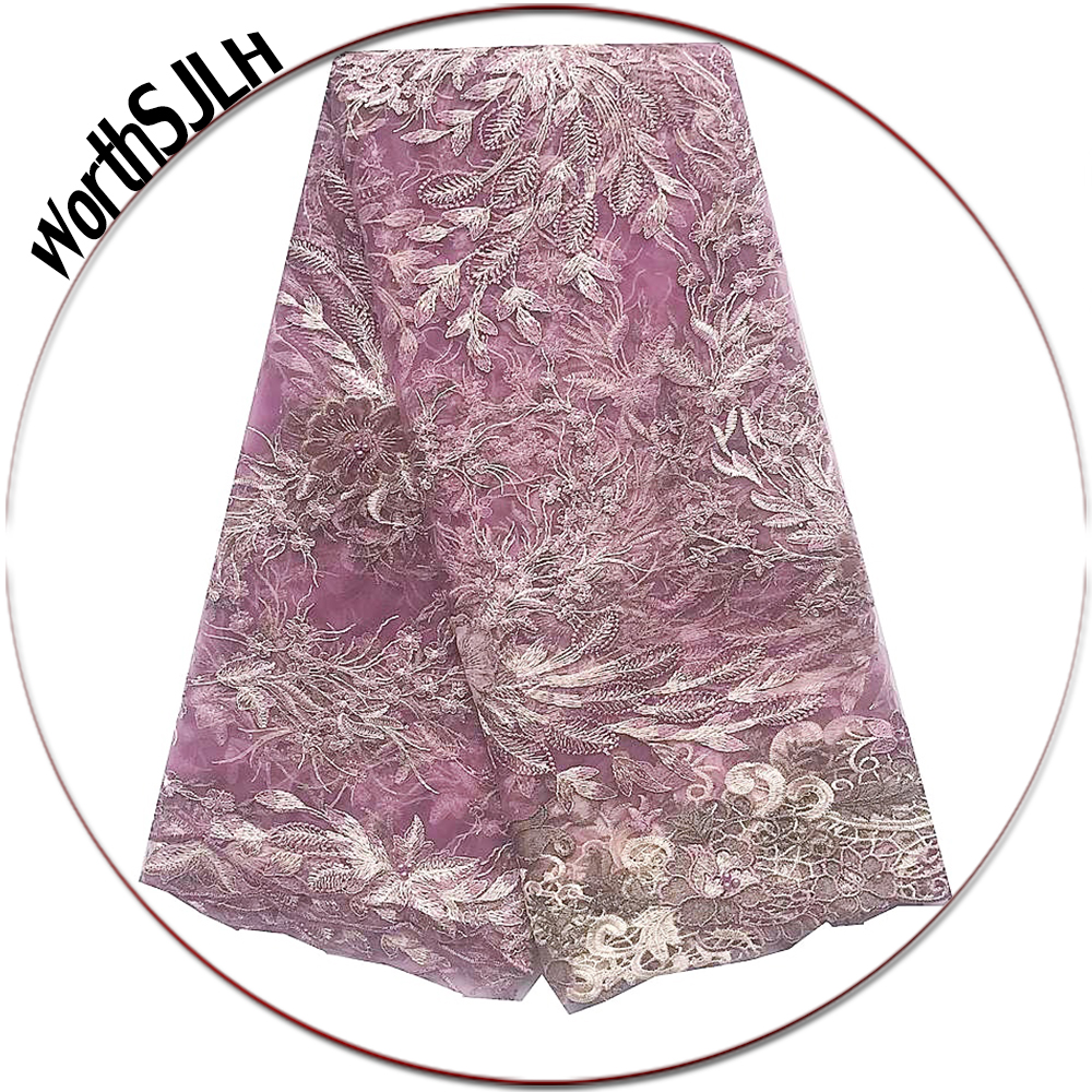Luxury Nigerian Lace Fabric 2019 High Quality African Wedding 3D Lace Fabric Lilac Magenta French Velvet