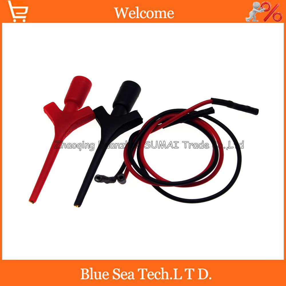 Gold plating airplane Test hook+Dupont Line, Multimeter Lead Wire Kit SMD IC Hook Test Clip,Black Red utl16 multimeter test lead cable red black 2 pcs