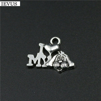 Hot selling 50 Pieces/Lot 18mm*13mm Antique Silver Plated message charms dog charm i love my doy pandents jewelry making image