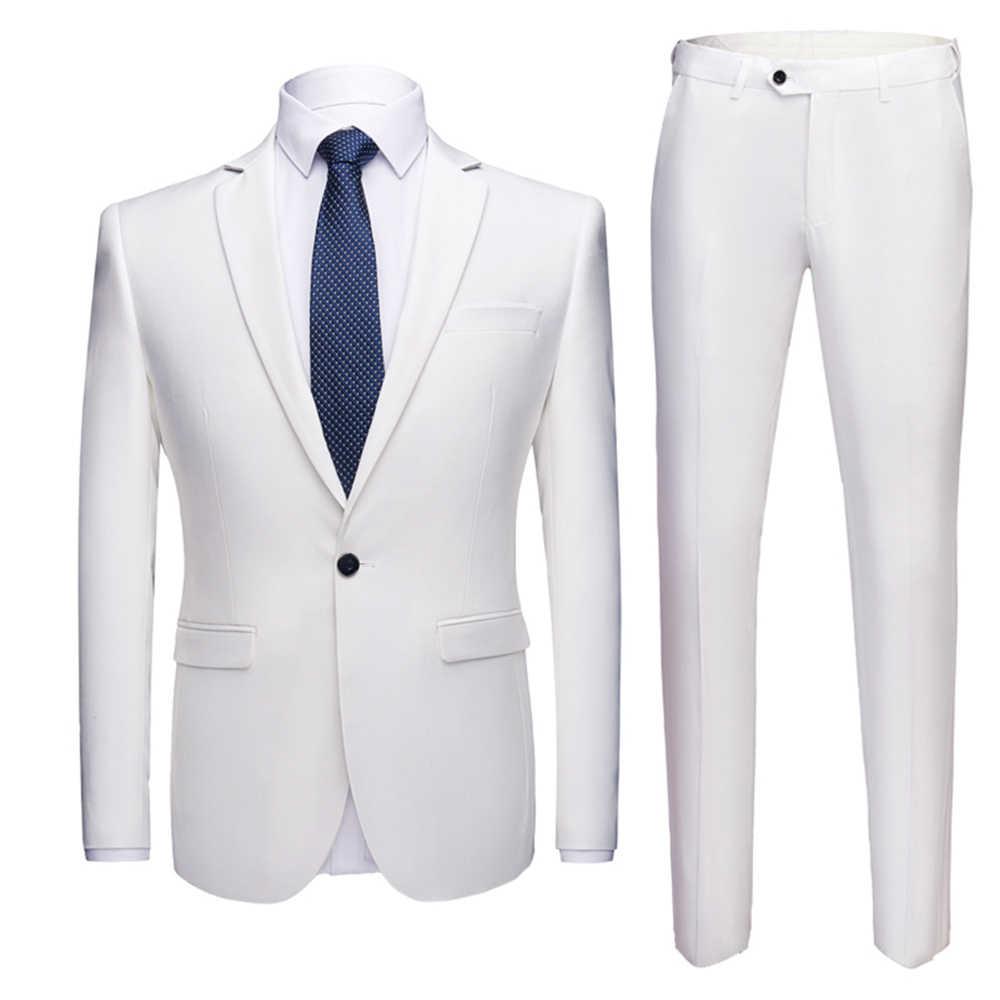 アジアサイズ結婚式のスーツセット 2 個男性ブレザー品質メンズ衣装ビジネスフォーマルパーティーブルー古典的な黒