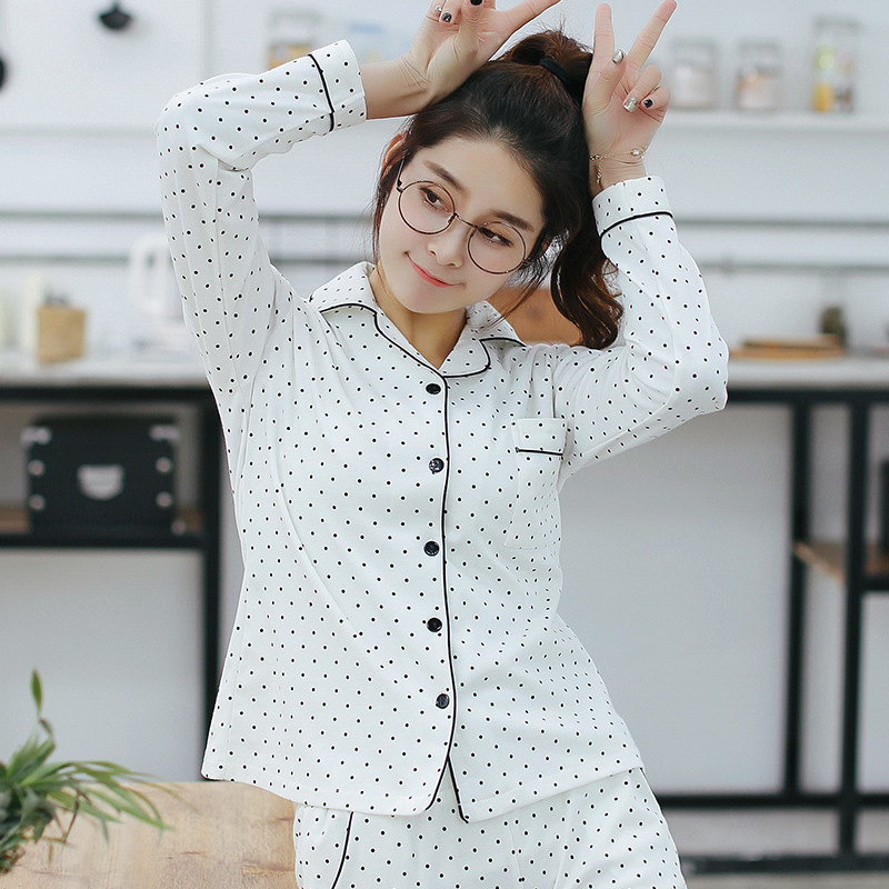 2018 Women White Striped Cotton   Pajamas     Sets   Casual Long Sleeve Sleepwear 2 piece Sexy Spring Lounge pants suits Homewear Suit
