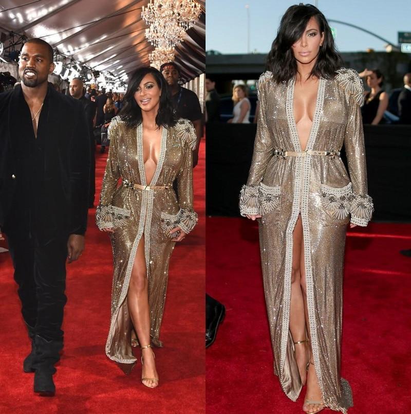 Vestido De Festa 2018 Halter Gold Lace Sequin High Slit ...  |Kim Kardashian Red Carpet Dresses