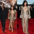 Grammy Celebridade No Tapete Vermelho Vestidos de Kim Kardashian Ouro Brilhante Lantejoulas Mangas Compridas Beads Frente Slit Vestidos de Noite