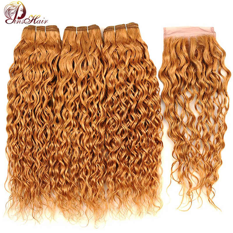 Honey Blonde 27 Water Wave Peruvian Hair 3 Bundles With Closure Blonde 100 Human Hair Bundles With Closure Pinshair Nonremy Hair