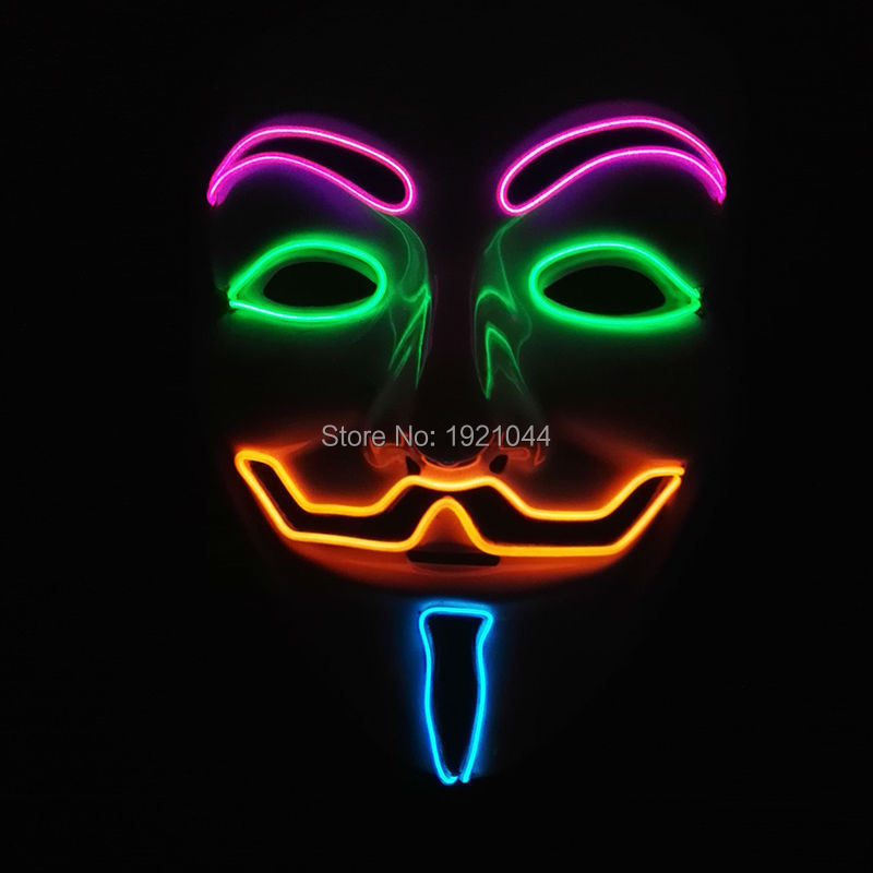 Four Color V for VENDETTA EL Wire Glowing Mask with DC-3V Sound activated Inverter for Halloween Party Decoration