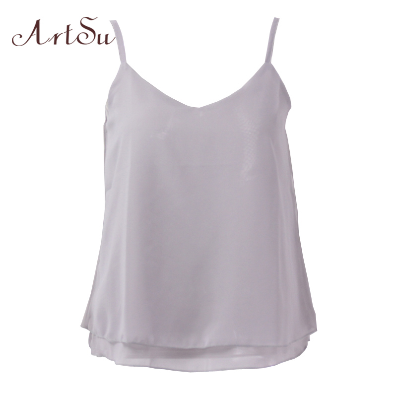 ArtSu Chiffon Tank Top Women 2019 Summer Sleeveless Shirt Sexy V-neck Cami  Casual Female Tops Plus Size Vest Clothing LDVE60008