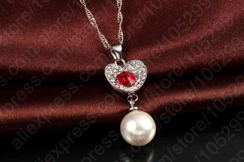 New Arrival Crystal 925 Sterling Silver Necklace Earrings Pearl Cubic Zircon Jewelry Set Women Wedding Accessories