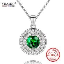 YHAMNI Original 925 Sterling Silver Chain Necklace Pure Natural Gem Round Pendant Necklace Luxury CZ Zircon Fine Jewelry YQ-N004