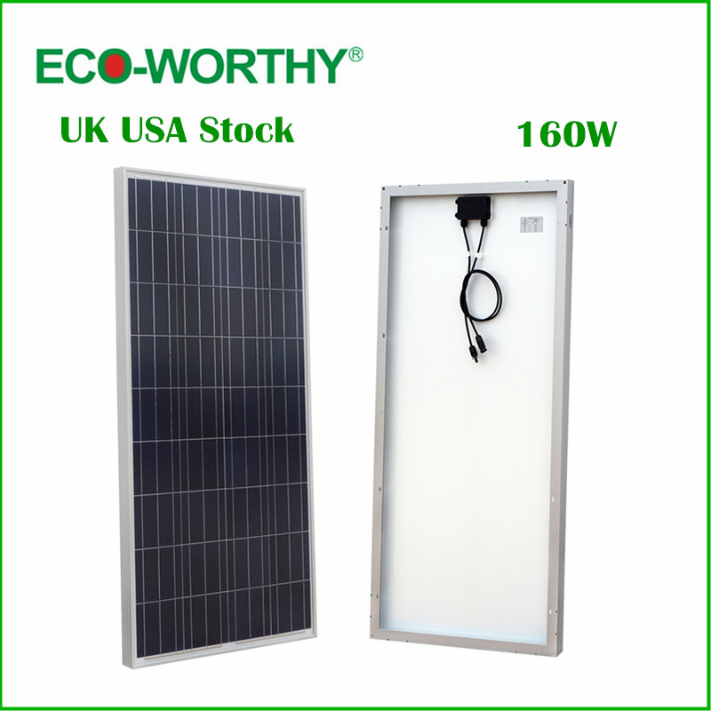 ECO-WORTHY  160W Polycrystalline Photovoltaic PV Solar Panel Module 12V off Grid Battery Charging for Boat Yacht Household RV stylish round neck sleeveless black drawstring ripped jumpsuit for women