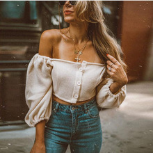 Sexy Off Shoulder Sweaters Fashion 2018 Women Long Puff Sleeve Cropped Knitted Sweater Short Cardigans