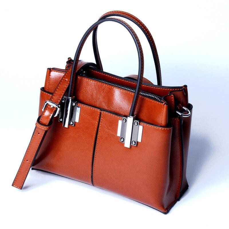 naiste nahast käekotid kvaliteetne naine kott tõeline lehm tõeline - Käekotid - Foto 3