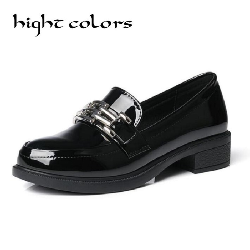 New Chains Buckle Women's Loafers Fashion Patent Leather Flats Oxfords For Women Casual Female Student Shoes Big Size 34-43 new round toe slip on women loafers fashion bow patent leather women flat shoes ladies casual flats big size 34 43 women oxfords