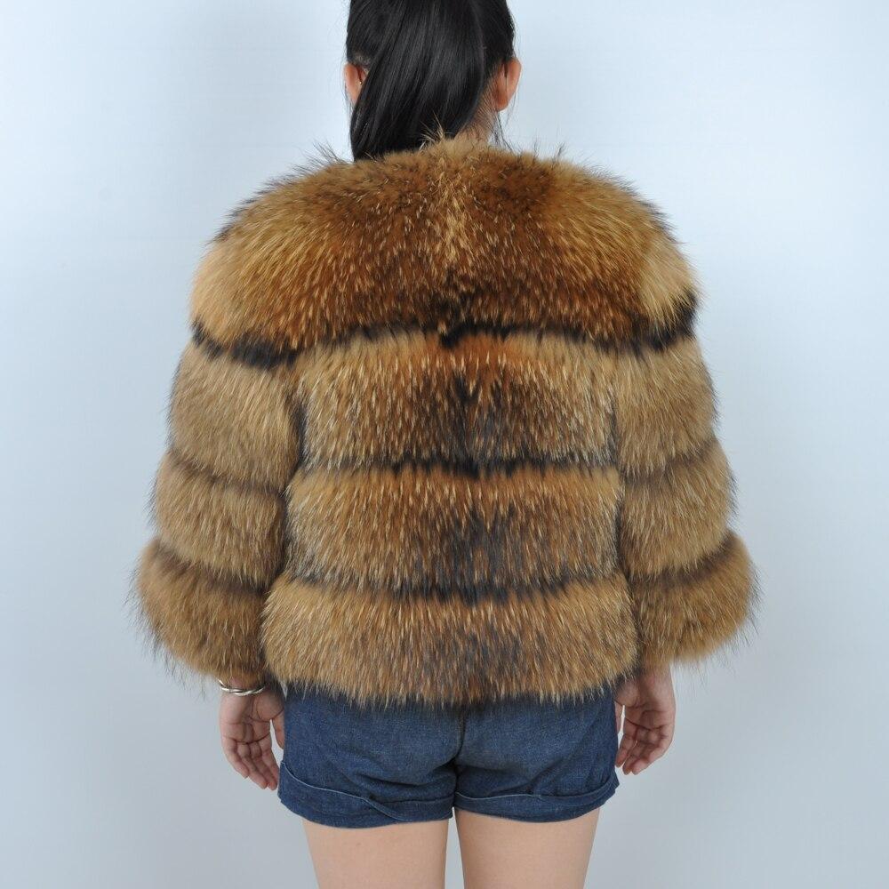 Пальто из натурального меха енота, женская зимняя пушистая Меховая куртка из натурального меха енота, пальто из натурального меха енота - 3