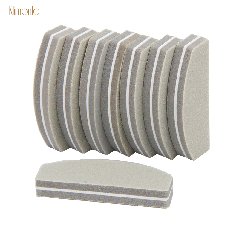 10pcs Mini Gray Nail File Buffers 100/180 Art Sanding Polishing Files Washable Manicure Half Moon Tools For Salon