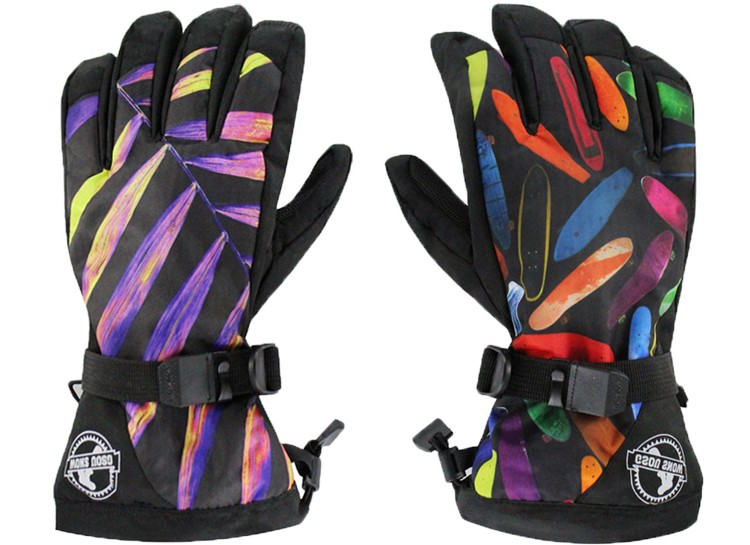 Men colorful leaves ski gloves male riding climbing skiing gloves winter outdoor sports gloves good quality waterproof 10K