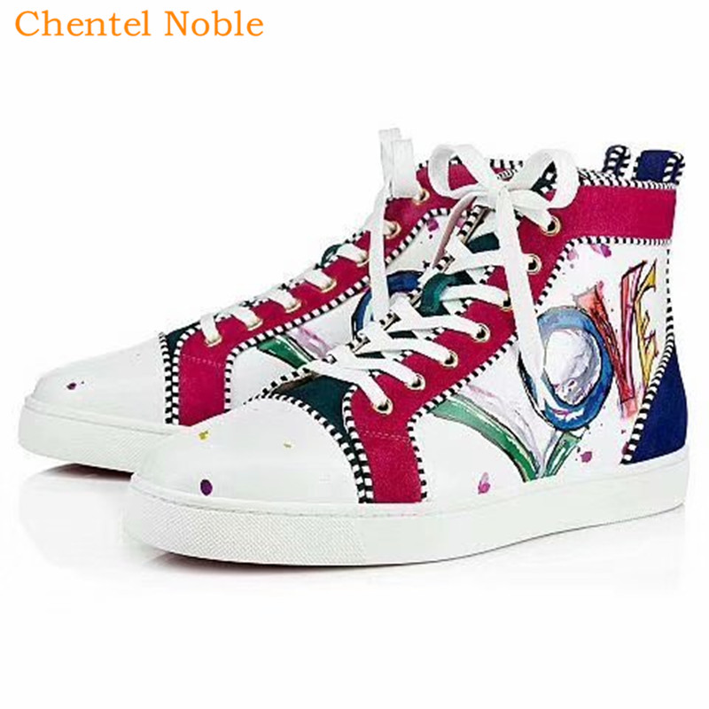 Chentel Noble Upper Material Suede And Leather Graffiti Leisure Shoes  Walking Sneakers Outdoor Shoes For Men Lace Up Black White cbd67fcb6a60